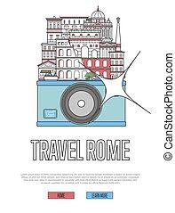 ポスター, 旅行, ローマ, カメラ
