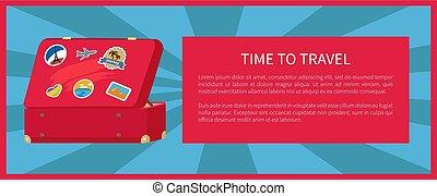 ポスター, 旅行, 時間, イラスト, ベクトル, スーツケース