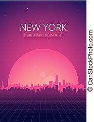 ポスター, 旅行, vectors, スカイライン, レトロ, 新しい, イラスト, 未来派, ヨーク