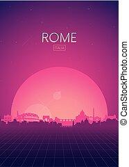 ポスター, 旅行, vectors, スカイライン, ローマ, レトロ, イラスト, 未来派