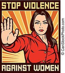ポスター, 暴力, 止まれ, に対して, 女性