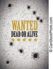 ポスター, 望まれる, 穴, 銃弾