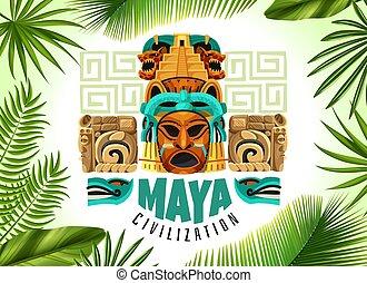 ポスター, 横, 文明, maya