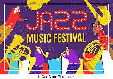 ポスター, 歌手, 祝祭, ミュージカル, illustration., 音楽, saxophonist, billbord, ベクトル, サクソフォーン, 道具, ジャズ, 遊び, show.