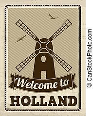 ポスター, 歓迎, オランダ, レトロ