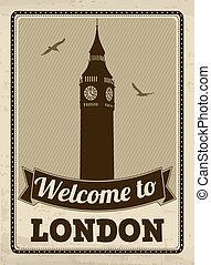 ポスター, 歓迎, ロンドン, レトロ