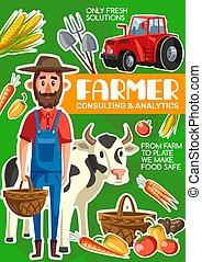 ポスター, 牛, 農業, 農業, 農夫