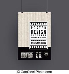 ポスター, 現代, デザイン, テンプレート