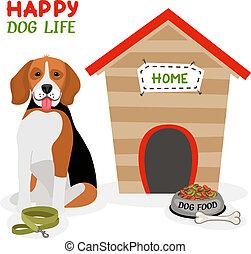 ポスター, 生活, デザイン, 犬, 幸せ