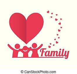 ポスター, 美しい, 家族, 一緒に