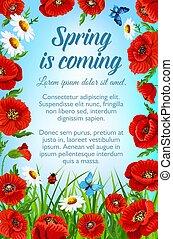 ポスター, 花, ベクトル, 挨拶, 春
