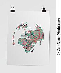 ポスター, 芸術, ピクセル, 地球