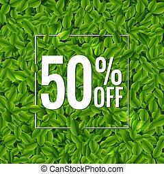 ポスター, 葉, 緑, セール, 背景