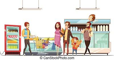 ポスター, 買い物, レトロ, 父性, 漫画