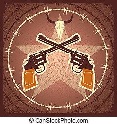 ポスター, 銃, 西部, 頭骨, 雄牛