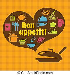 ポスター, appetit, 料理, bon
