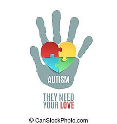 ポスター, autism, 認識, template.