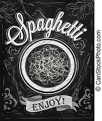 ポスター, enjoy., スパゲッティ, chalk.
