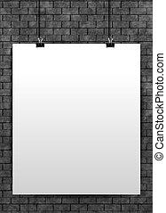 ポスター, eps10., の上, wall., 黒, テンプレート, ベクトル, 白い煉瓦, mock