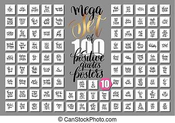 ポスター, mega, セット, ポジティブ, 引用, 100