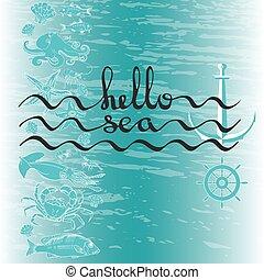 ポスター, text., 挨拶, 黒, sea., カリグラフィー, こんにちは, カード