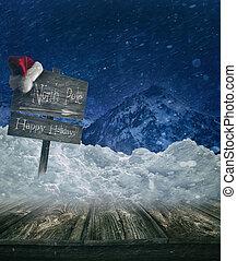 ポスト, 休日, クリスマス, 背景, 印