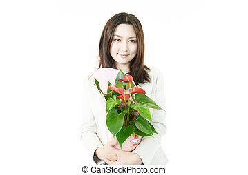 ポット, 女, 若い, 花