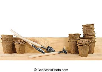 ポット, 泥炭, 道具, 庭