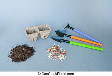 ポット, 泥炭, 道具, 庭, 土壌