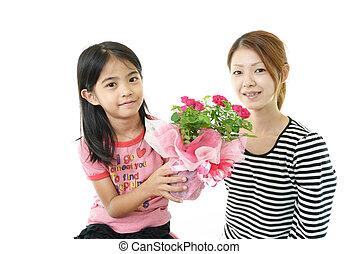 ポット, 花, 家族, 幸せ