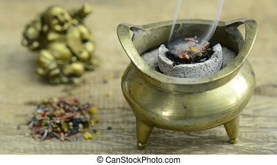 ポット, fuming, incense