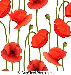 ポッド, 壁紙, pattern., seamless, 花, 明るい, picture., 赤, ケシ, 記憶, ...