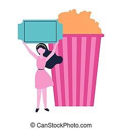ポップコーン, 切符, 女, 映画館