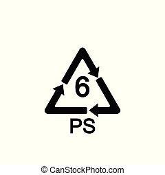 ポリスチレン, ps, コード, シンボル, リサイクル, 6, 樹脂, プラスチック, ベクトル, 同一証明,...