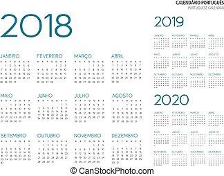 ポルトガル語, カレンダー, ベクトル, 2018-2019-2020