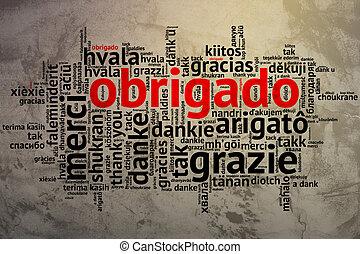 ポルトガル語, グランジ, obrigado, ありがとう, 背景, 単語, 雲, 開いた