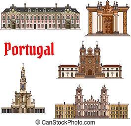 ポルトガル語, セット, 旅行, 薄くなりなさい, ランドマーク, 線, アイコン