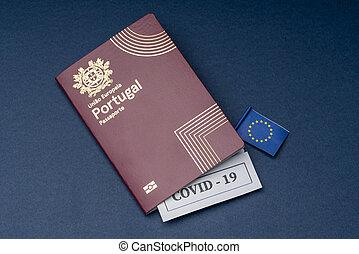 ポルトガル語, 旅行, バックグラウンド。, ヨーロッパ, パスポート, 青