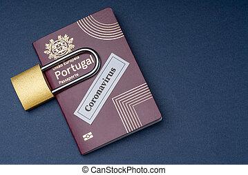 ポルトガル語, 旅行, バックグラウンド。, ヨーロッパ, パスポート, 青, ナンキン錠
