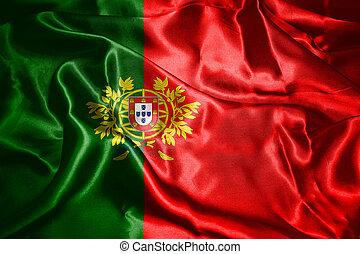 ポルトガル, コート, 国民, 腕, イラスト, 揺れている旗, 風, 3d