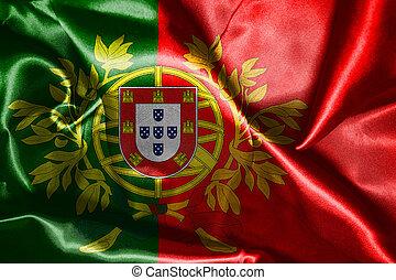 ポルトガル, コート, 国民, 腕, wawving, 旗, イラスト, 風, 3d