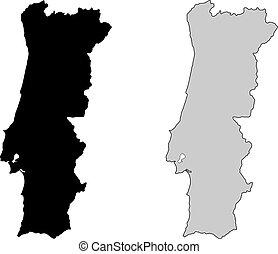 ポルトガル, projection., map., 黒, white., mercator
