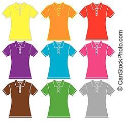 ポロ, カラフルなシャツ, テンプレート, 女性