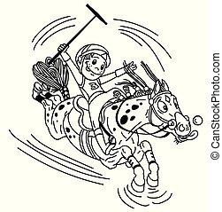 ポロ, 漫画, アウトライン, 乗馬者