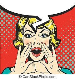 ポンとはじけなさい, スピーチ, レトロ, 泡, 芸術, vector., 漫画, 叫ぶこと, 女