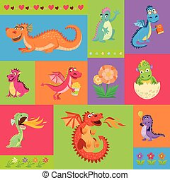 ポンとはじけなさい, ドラゴン, 呼吸, 卵, wings., psattern, わずかしか, 飛行, 保有物, baloon., トウモロコシ, 面白い, 本, 火, 恐竜, 企て, ベビーシッター, 漫画, illustration., ベクトル, 妖精