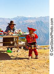 ポンチョ, 通り, 布, カラフルである, ollantaytambo, アルパカ, 記念品, 帽子,...