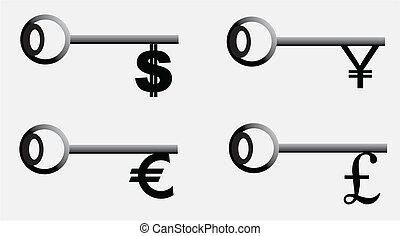 ポンド, 円, アイコン, セット, ドル, money-key., ユーロ
