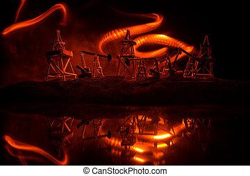 ポンプ, 日没, 木, 機械, decoration., オイル, エネルギー, 産業, 背景, 用具一式, 石油, デザイン