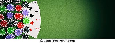 ポーカーチップ, そして, 4枚のエース, 上に, 緑のフェルト, 3d, イラスト